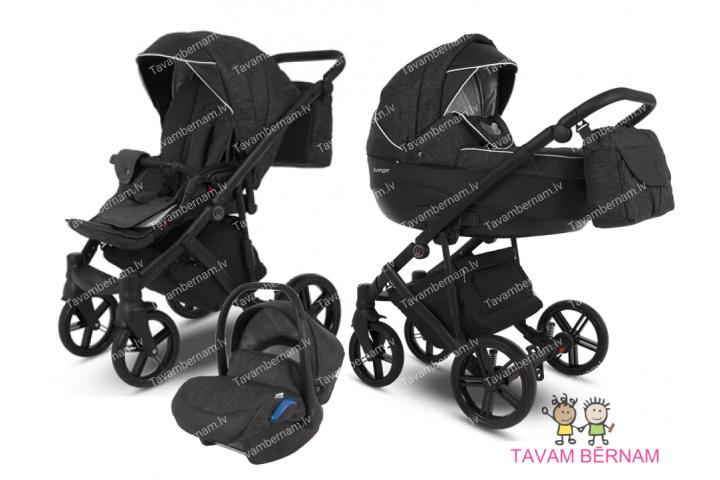 Camarelo Avenger plus 3-1 Av+2 (melna) rati jaundzimušajiem trīs vienā